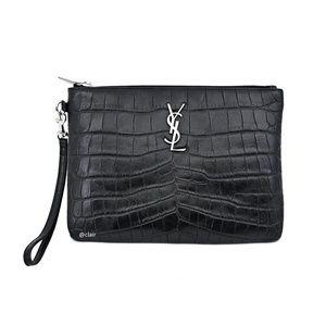 Saint Laurent Monogram Crocodile Embossed Leather